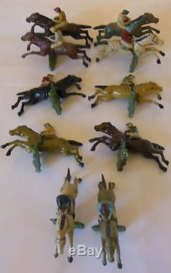 10 chevaux de course de marque C. B. G en plomb jockey tiercé -HIPPISME