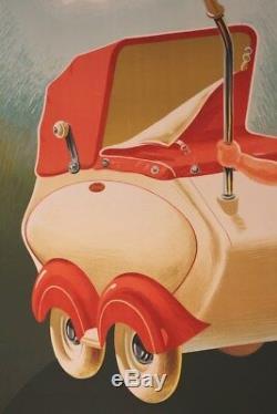 AFFICHE ANCIENNE ORIGINALE TERROT MOTO LANDEAU BéBé POUPON Strebelle poussette