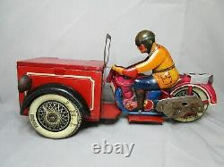 AR423 JML JOUET MECANIQUE LYON MOTO TRIPORTEUR Scooter Motorcycle tole BEL ETAT