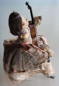 AUTOMATE THEROUDE mécanique La joueuse de guitare 1850 Jouet ancien XIX