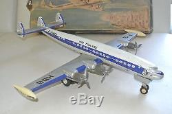 Ancien Avion CONSTELLATION Super G JOUSTRA en tole avec boite