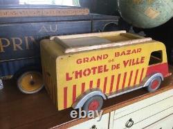 Ancien Camion Jouet Bois Grand Bazar De L'hôtel De Ville