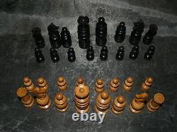 Ancien Jeu d'échecs Régence bois dimensions roi 9 cm légers défauts Chess
