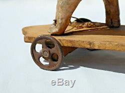 Ancien Jouet 1910 Cochon A Tirer Roulettes Papier Mache Carton Bouilli Xixe