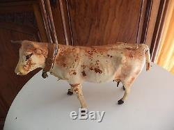 Ancien Jouet A Tirer Vache Recouverte De Peau Rare