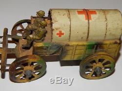 Ancien Jouet Militaire En Tole Ambulance + Mitrailleuse