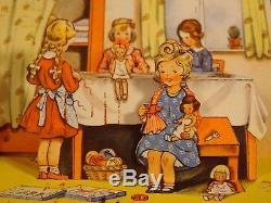 Ancien carte livret couture pop-up relief poupée ours enfants habits années 1950