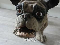 Ancien chien Bulldogs Français jouet vers 1915/1920 a roulettes papier mâché