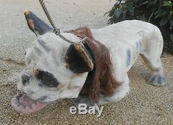 Ancien chien bouledogue papier mâché grand modèle circa 1880/1890 sortie grenier