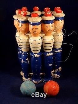 Ancien jeu de 9 quilles en bois marins matelots années 30 jouet adresse wood