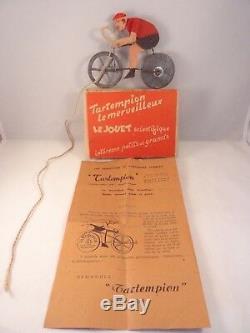Ancien jeu jouet scientifique Cycliste TARTEMPION Le Merveilleux 1947 lépine