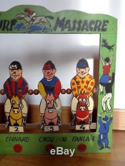 Ancien jeu massacre turfiste course chevaux jockey hippodrome style Saussine