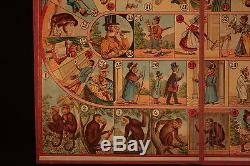 Ancien jeux de loto humoristique évolution de l'homme théorie de Darwin XIX ème