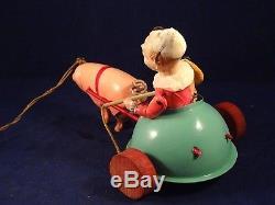 Ancien jouet attelage char clown SIC celluloïd cochon Frattelini cirque 1920