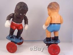 Ancien jouet mécanique Boxing Boys Boxeurs J. F JOUEF CONVERT Joe Louis 1949