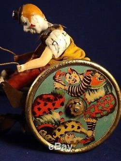 Ancien jouet mécanique tôle LEHMANN BALKY MULE Clown cirque attelage 30s Germany