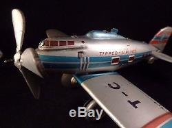 Ancien jouet mécanique tôle avion de ligne TIPPCO AIRLINES 55 No JOUSTRA JEP CR