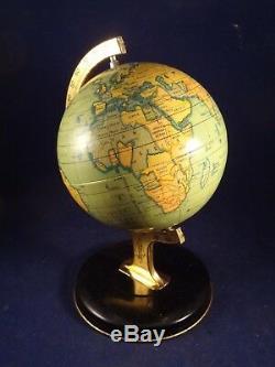 Ancien jouet tôle mappemonde globe terrestre England 1940 Boîte d'origine