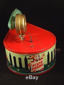 Ancien jouet tôle mécanique Pixiphone Gramophone enfants GAMA D. P Ange 1950