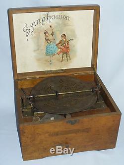 Ancien symphonion, Boite à musique, Disque en metal ajouré, Jouet epoque 1880