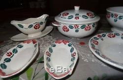 Ancienne dinette faïence 25 pieces soupière plat assiettes hbcm Choisy le roi