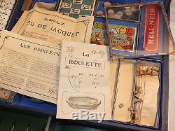 Ancienne énorme mallette de Jeux 19è JLR Paris, nain jaune, oie, puce, loto