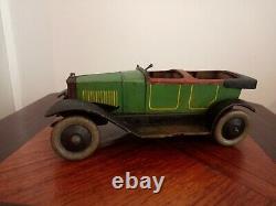 Ancienne grande voiture à ressort jouet tôle peinte vers 1900 JEP