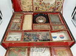 Ancienne mallette de jeux de société époque 1900