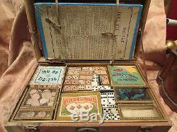 Ancienne mallette de jeux epoque 1900 jacquet dominos oie jonchets etc
