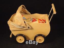 Ancienne rare poussette en bois bébé landau miniature EAS 1950