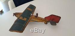 Avion vintage en tôle français CR années 1930/1940 mécanique fonctionne