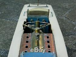 Bateau vapeur maquette ancienne 1950 canot automobile vintage steam boat
