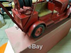 Beau Camion pompier Citroën rare version a soufflet jouets anciens be circa 1930