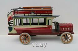 Bing Rare Autobus à Imperiale 25,5 Cm Mecanique Tole litho Etat Superbe 1910