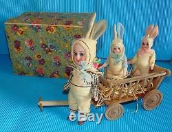 Boite d'origine FAMILLE de lapins de Paques/ 3poupees anciennes BISQUE/ GOOGLY