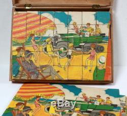 Boîte de 35 cubes anciens jouets Citroën vers 1930