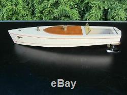 Canot de bassin Kellner ancien 1950 bateau bois pond yacht clockwork vintage
