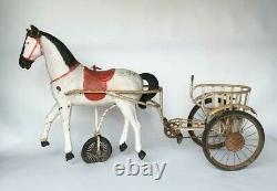 Cheval A Pedale Et Son Sulky En Tole Peinte 1900 L524