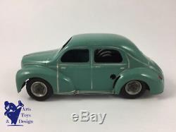 Cij 5/48 Jouet Ancien Tole Mecanique Rare Renault 4cv Avec Calandre 3 Barres