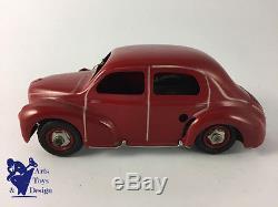 Cij 5/48 Renault 4cv Bordeaux Jouet Ancien Mecanique Vers 1950 L 18cm