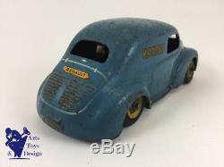 Cij 5/49p Jouet Ancien Tole Mecanique Renault 4cv Postes Bleu Roues Jaunes L18cm
