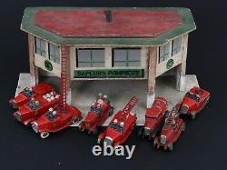 Cij Petite Caserne Sapeurs Pompiers Et 8 Camions Pompiers Platre Et Farine 1930