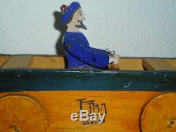 ETMA ETIENNE et MANDONNAUD Rare jouet en bois 1920 a tirer bateau cij dejou