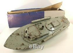 GIL Vedette lance torpilles U25 année 1958 ancien 50 cm tintoy boat en boite