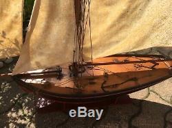 GRAND 117 cm LE MALO ANCIEN VOILIER CANOT BATEAU DE BASSIN FLOATING BOAT