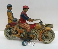 Gely Belle Moto Lithographiée Mecanique 15,5 Cm Germany 1910-20