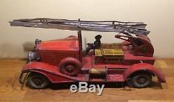 Grand Camion pompier CR en tôle Charles Rossignol