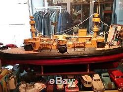 Grand Cuirassé 2ème 110 cm bâteau en tôle naviguant Bing, Marklin