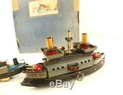 HESS ALLEMAGNE Coffret navires guerre JEANNE D'ARC tôle moteur clé RARE fin 19èm