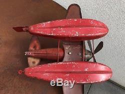 Hydravion Jep Jouet Ancien Mécanique En Tôle Rouge Hélice